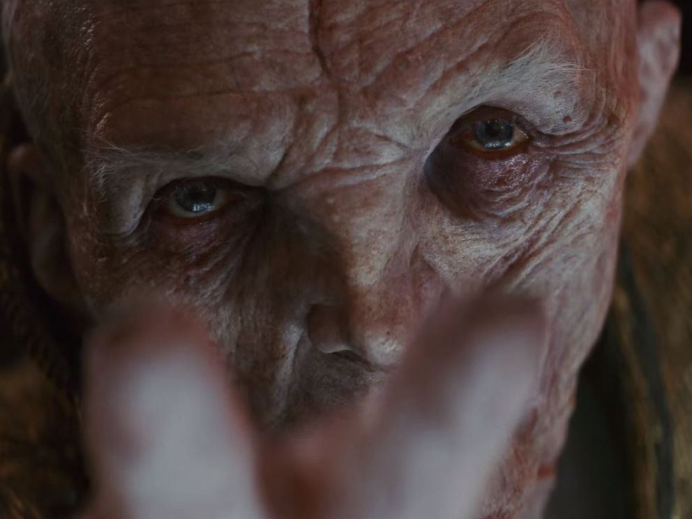 PHOTO: Andy Serkis, as Snoke, in a scene from Star Wars: The Last Jedi official trailer.