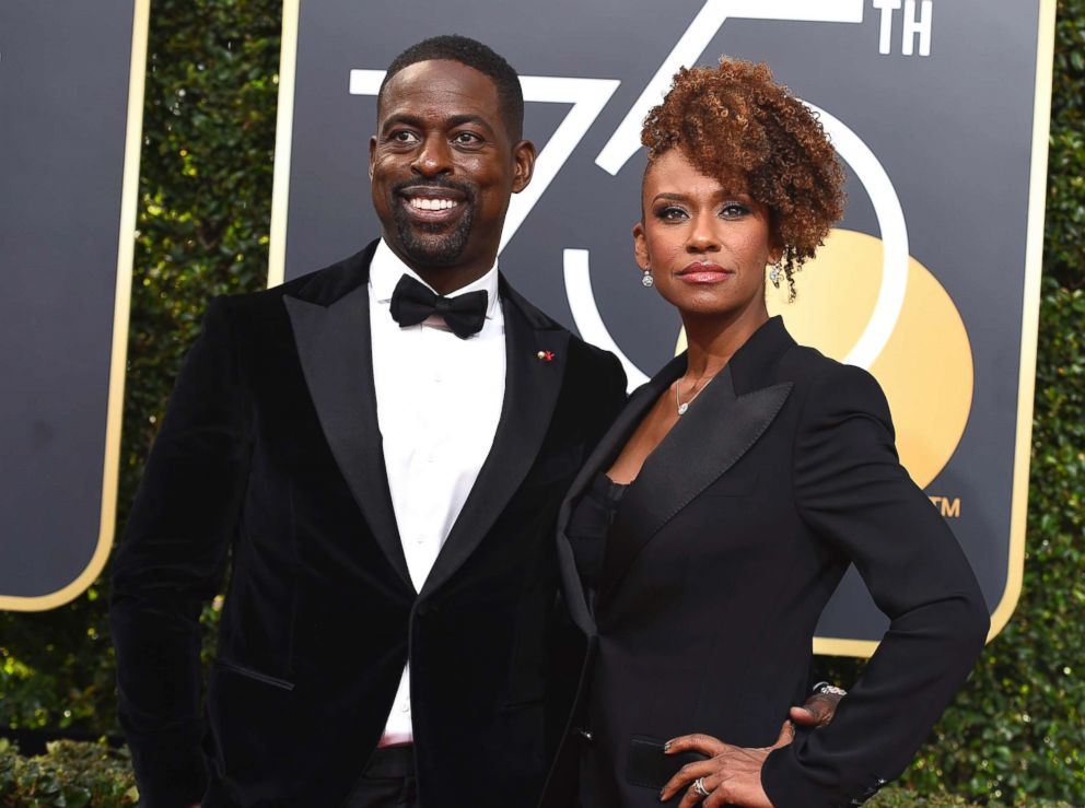PHOTO: Sterling K. Brown, left, and Ryan Bathe arrive at the 75th annual Golden Globe Awards at the Beverly Hilton Hotel, Jan. 7, 2018, in Beverly Hills, Calif.