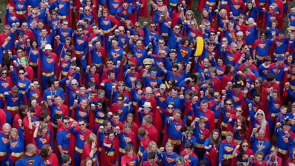 swns SUPERMAN world record kb 130802 16x9 608 867 Strong Superman Gathering Soars Into World Record Book