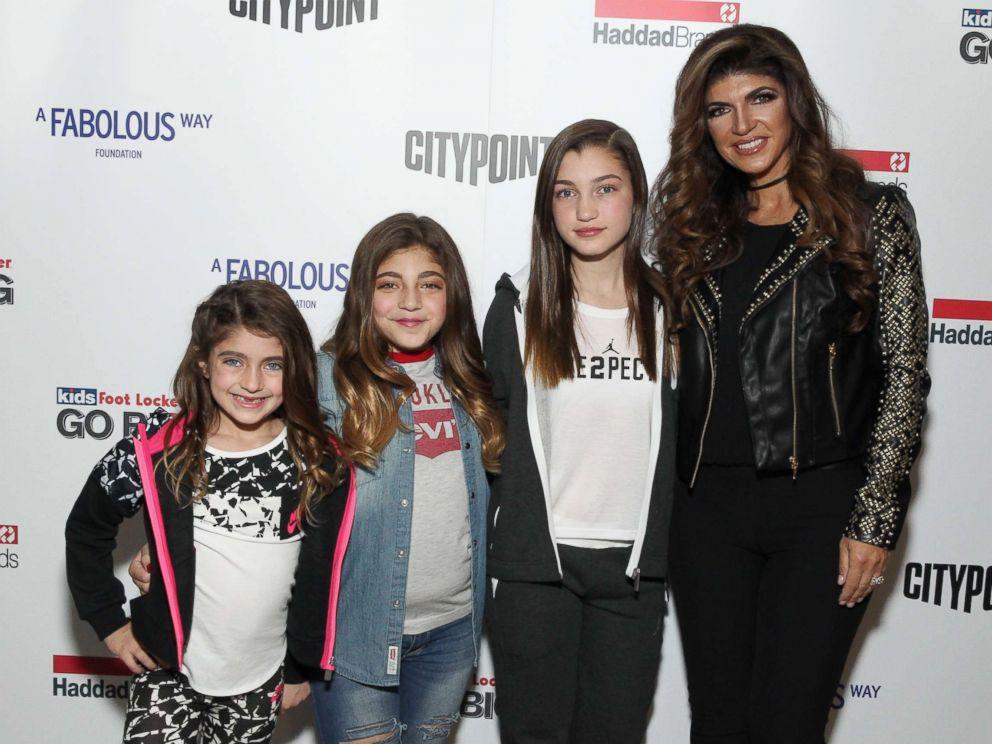 PHOTO: (L-R) Audriana Giudice, Milania Giudice, Gabriella Giudice, and Teresa Giudice attend BKLYN Rocks presented by City Point, Kids Foot Locker, and Haddad Brands at City Point, Nov. 9, 2016 in Brooklyn, New York.