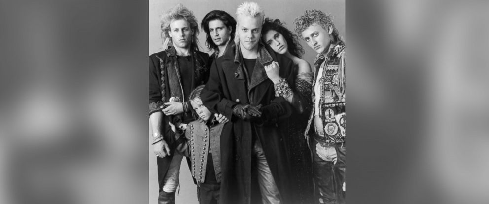 "PHOTO: (L-R) Brooke McCarter, Chance Michael Corbitt, Billy Wirth, Kiefer Sutherland, Jami Gertz and Alex Winter pose for the Warner Bros movie ""The Lost Boys"" circa 1987."