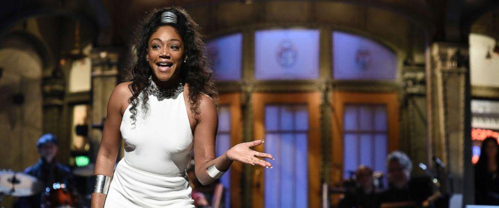 "PHOTO: Host Tiffany Haddish during the Opening Monologue on ""Saturday Night Live,"" Nov. 11, 2017."