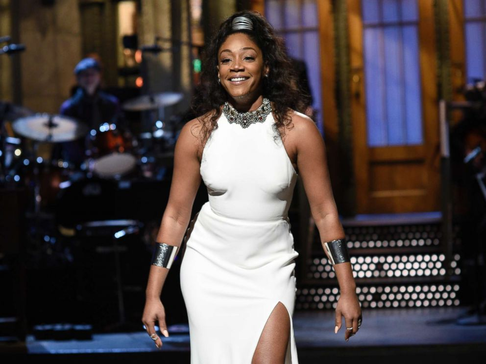 PHOTO: Host Tiffany Haddish performs the opening monologue during Saturday Night Live in New York on Nov. 11, 2017.
