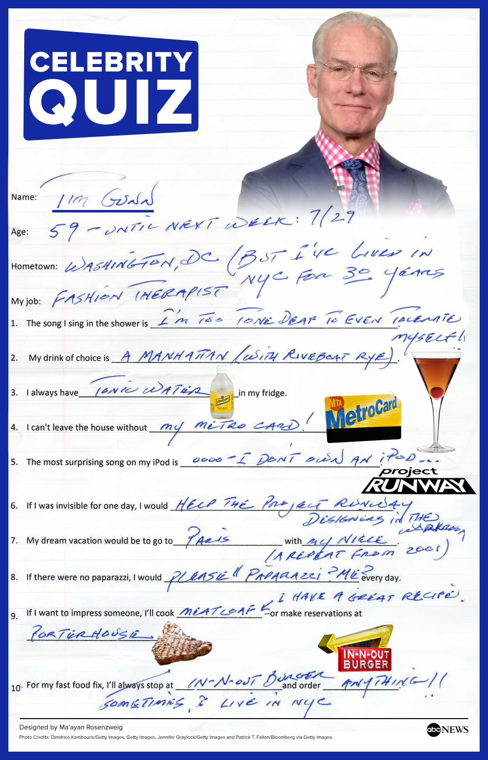 tim gunn tackles the abc news quiz in his handwriting