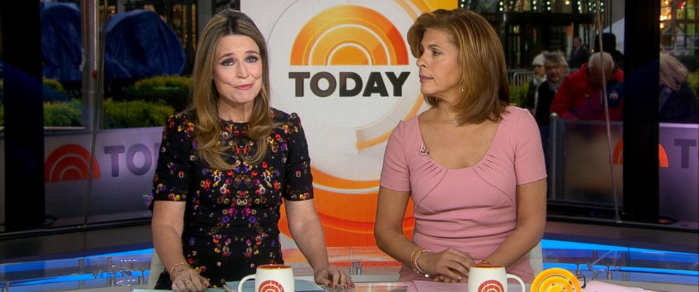 """PHOTO: Savannah Guthrie and Co-anchors Hoda Kotb speak on the set of the """"Today"""" show, Nov. 29, 2017, in New York, after NBC News fired host Matt Lauer."""
