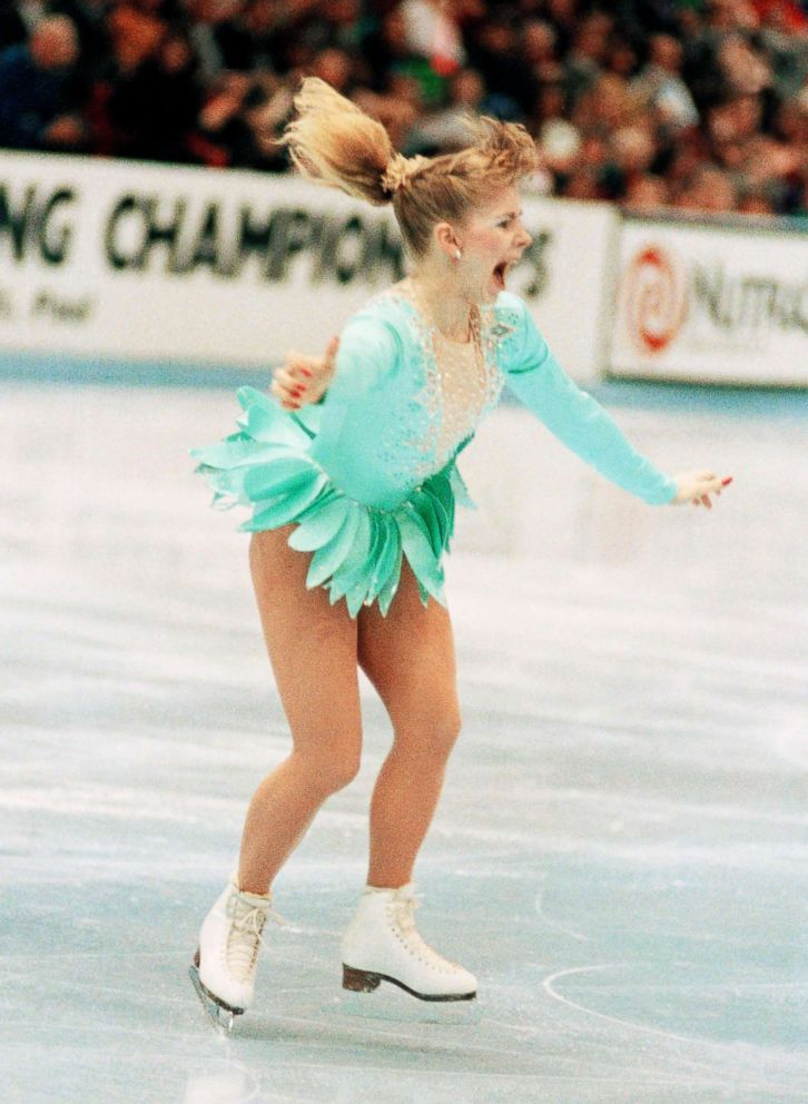 PHOTO: A jubilant Tonya Harding is acknowledged by the crowd as she comes out of her successful triple axel on her way to winning the U.S. Figure Skating Championships on Feb. 16, 1991, in Minneapolis.