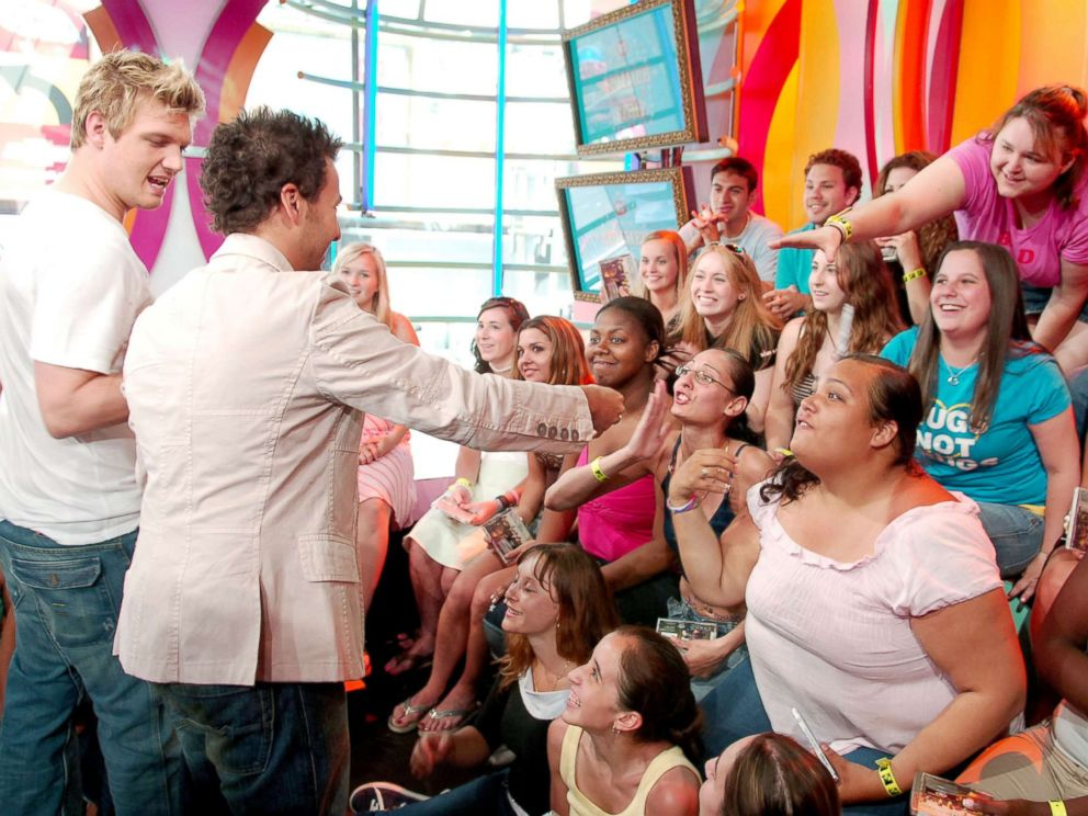 PHOTO: Nick Carter and Howie Dorough of Backstreet Boys appear on MTVs Total Request Live on June 14, 2005 in New York.