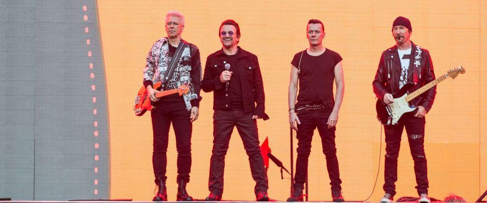 PHOTO: (L-R) Adam Clayton, Bono, Larry Mullen Jr. and The Edge of U2 perform at Twickenham Stadium, July 8, 2017 in London.