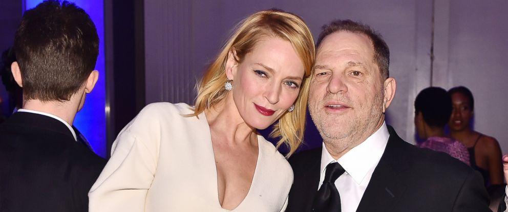 PHOTO: Uma Thurman and Harvey Weinstein attend the 2016 amfAR New York Gala at Cipriani Wall Street, Feb. 10, 2016, in New York City.
