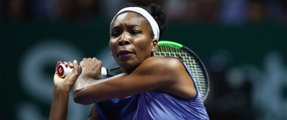 PHOTO: Venus Williams plays in the Singles Final against Caroline Wozniacki at the Singapore Sports Hub, Oct. 29, 2017, in Singapore.