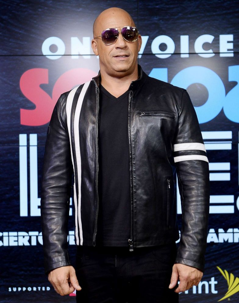 PHOTO: Vin Diesel poses in the pressroom at One Voice: Somos Live!, a concert for disaster relief, at Marlins Park, Oct. 14, 2017, in Miami.