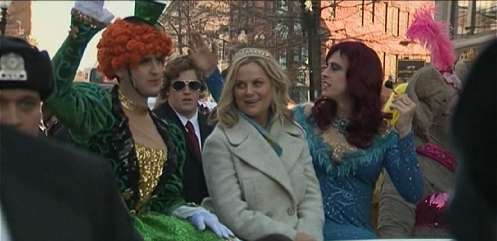VIDEO: The comedian celebrated her Woman of the Year Award by parading through Harvard Square with members of Hasty Pudding Theatricals dressed in drag.