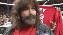 VIDEO: Wrestling star Mick Foley was disqualified from the annual chicken wing-eating competition in Philadelphia after hiding uneaten wings in his fanny pack.