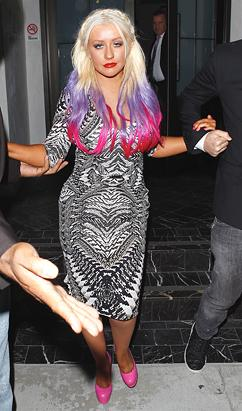 Christina Aguilera's violet majenta hair