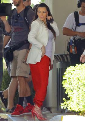 Kim K Rocks Red Pants