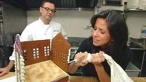 """VIDEO:""""GMA Weekend"""" anchors compete to see who can make the best gingerbread house."""
