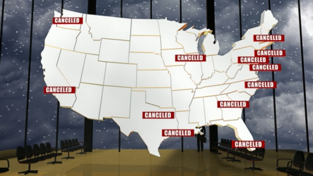VIDEO: Hundreds of flights could be canceled as a winter storm hits the East Coast.