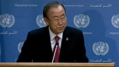 "Ki-moon added that the former South African president was a ""triumph for justice"" in anti-apartheid work."