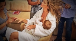Gisele Bundchen raises eyebrows as she gets her hair, makeup done while breastfeeding baby.