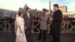 Robin and Josh talk to newlyweds who came to the Vatican in their wedding garb to me