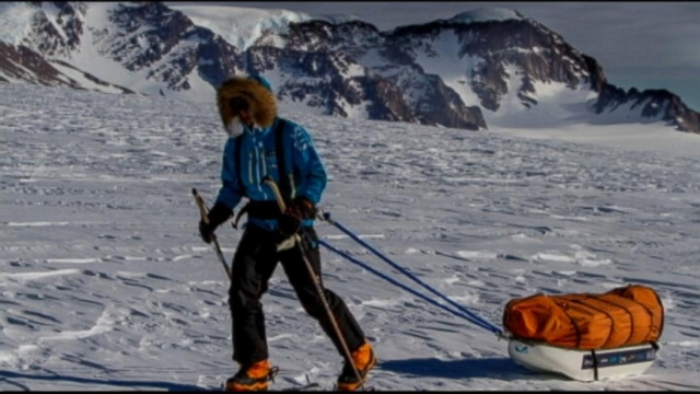 Parker Liautaud spending holidays braving extreme elements as he skis across Antarctica.
