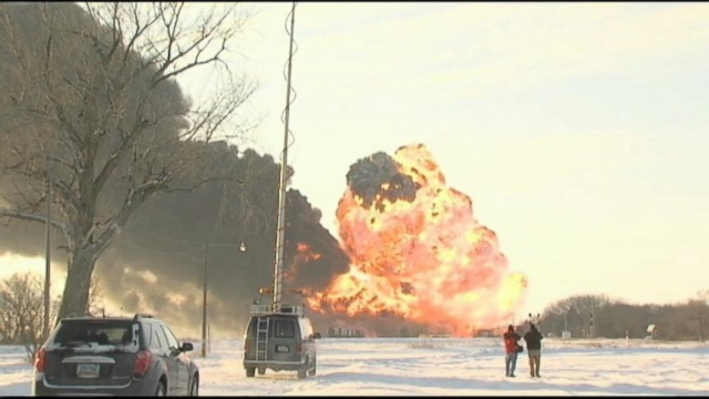 VIDEO: Firefighters are still trying to put out flames from after two freight trains collided.