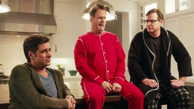 VIDEO: Get a first look at John Stamos, Bob Saget and Dave Coulier appearing in Dannon Oikos 2014 Super Bowl commercial.