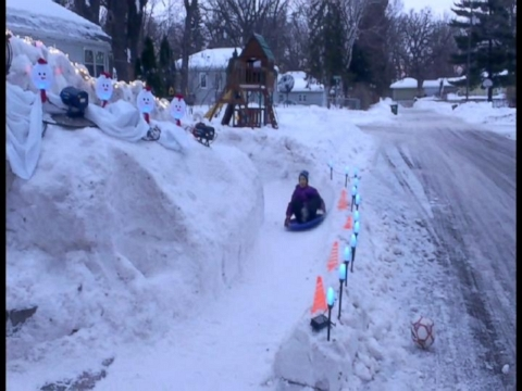 Dad Builds 12-Foot-High Ice Luge in Front Yard