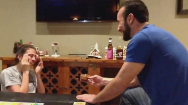VIDEO: Pam Garcia, of Houston, got a surprise marriage proposal while playing Pictionary.