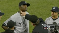 VIDEO: Michael Pineda was caught using pine-tar and was ejected from the game in Boston in the second inning.