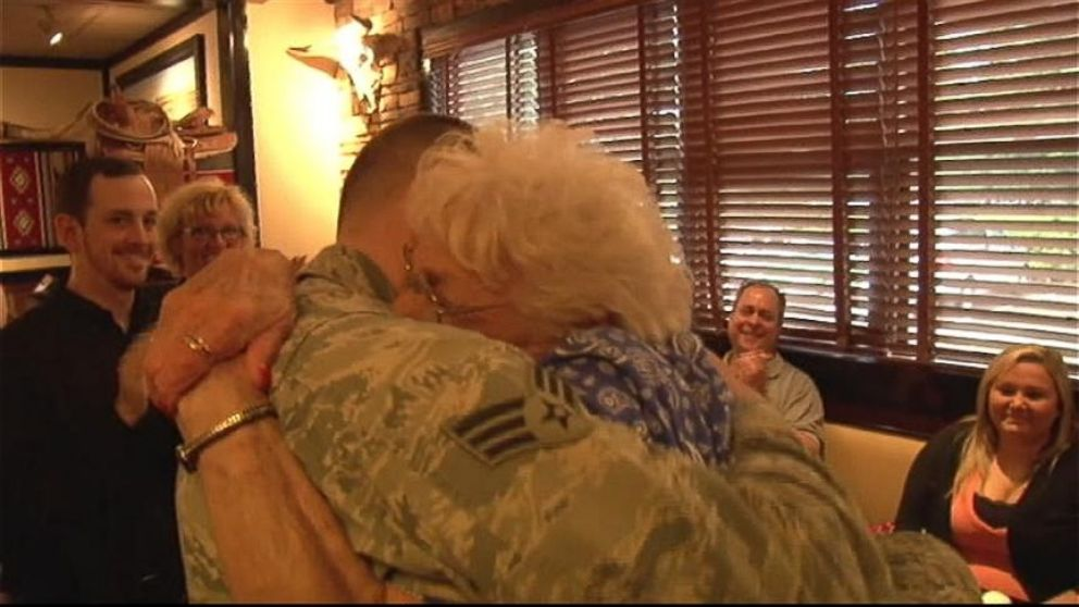 VIDEO: Airman Surprises Grandmother He Hasnt Seen in 2 Years