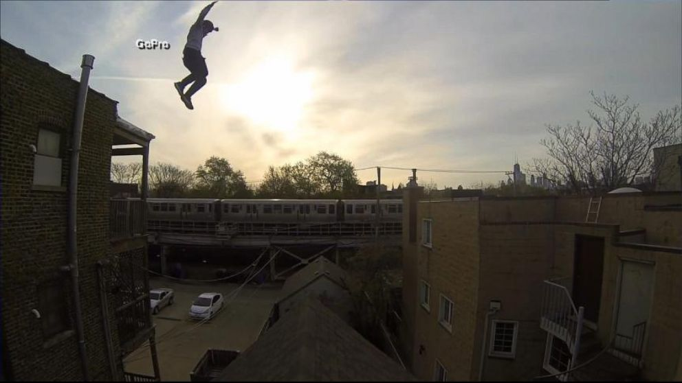 Stuntmans Amazing Rooftop Leap Caught on GoPro Camera