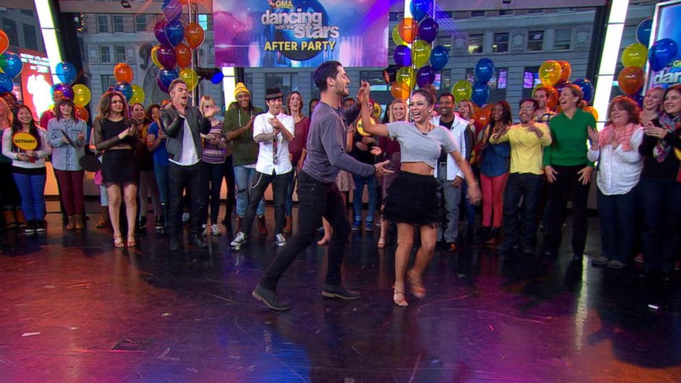 Janel Parrish, Val Chmerkovskiy Rock Times Square With the Samba