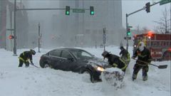 VIDEO: ABC News Rob Marciano was on the snowy streets of Boston when a stranded driver was aided by firefighters.