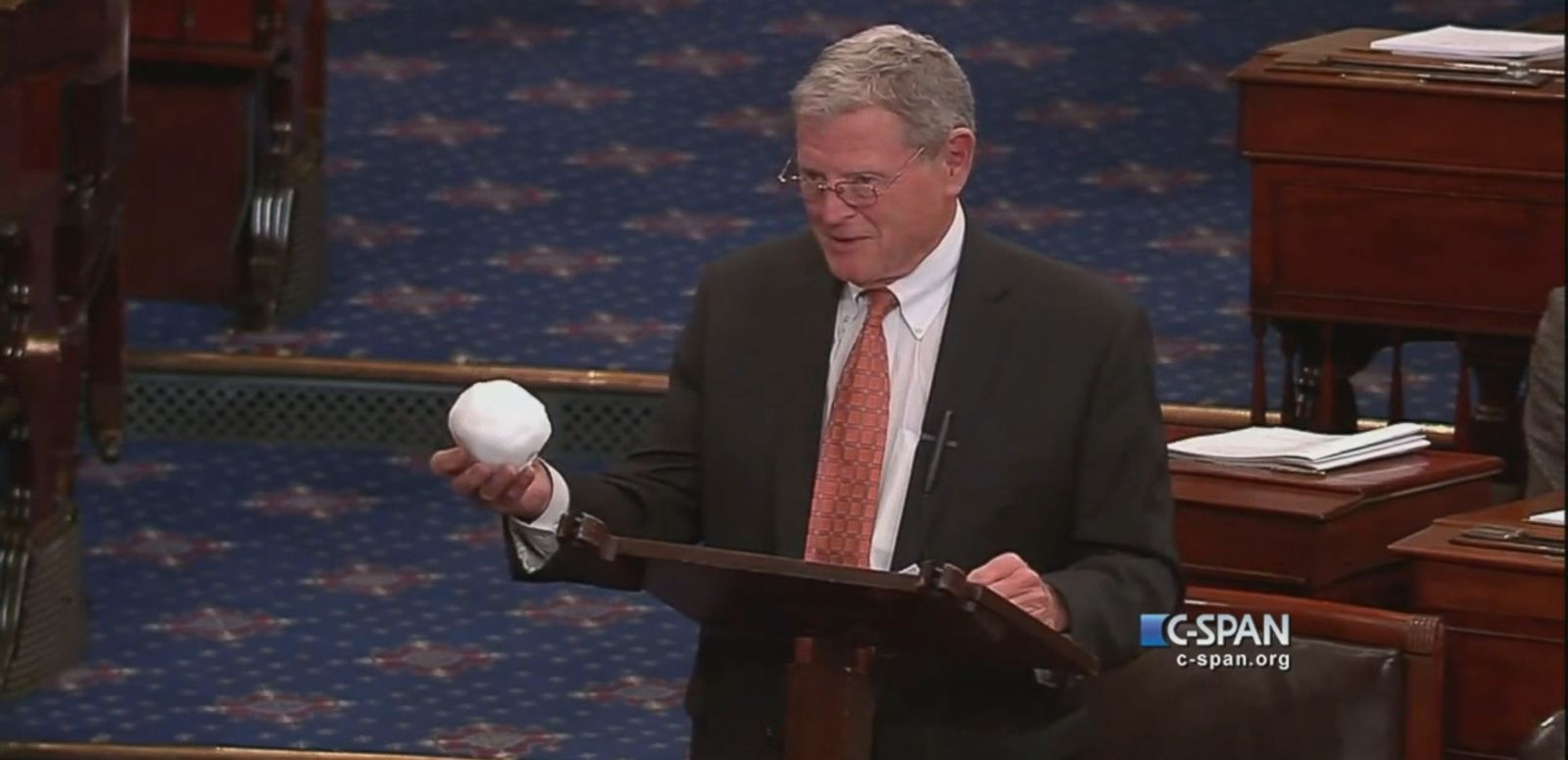 VIDEO: Climate change denier Sen. Jim Inhofe (R-OK) threw a snowball at someone on the Senate floor to try and debunk climate change.