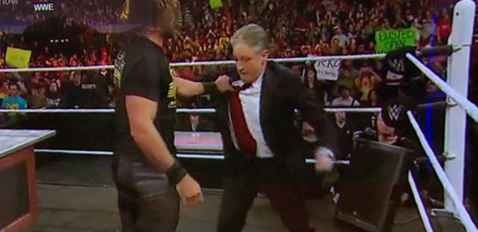 VIDEO: Jon Stewart, Seth Rollins Feud on WWE's Monday Night Raw