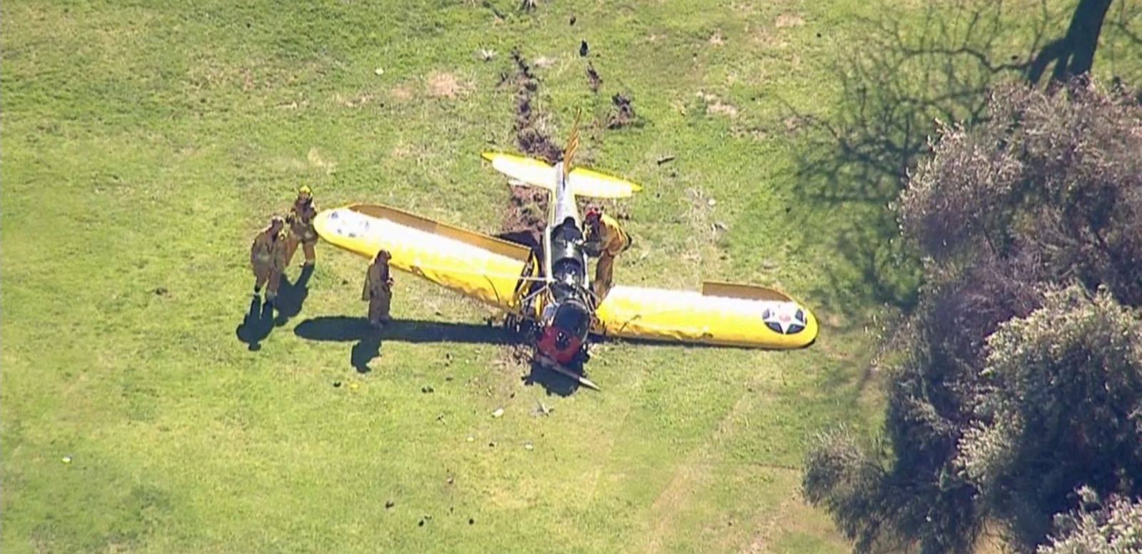 VIDEO: The veteran pilot crashed a small plane on a golf course near Santa Monica, C.A. and was taken to an area hospital.