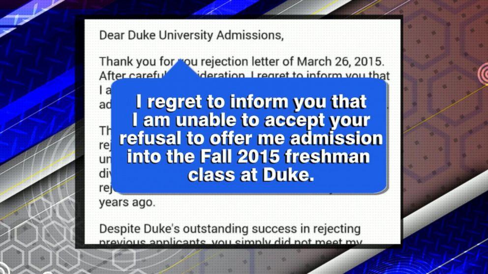 North Carolina Teen Writes Rejection Letter To Duke