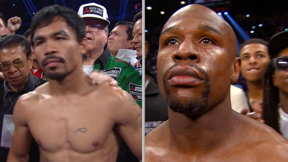 floyd mayweather jr manny pacquiao face off in vegas match video