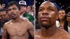 VIDEO: Floyd Mayweather Jr, Manny Pacquiao Face Off in Vegas Match