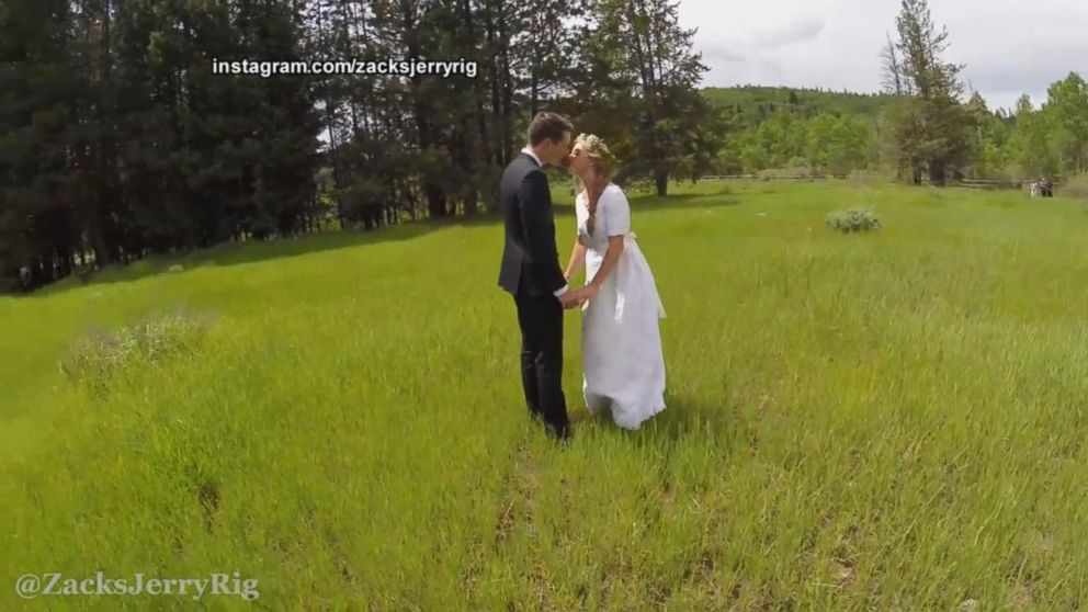 Romantic drone wedding video has crash landing video abc for Best drone for wedding video