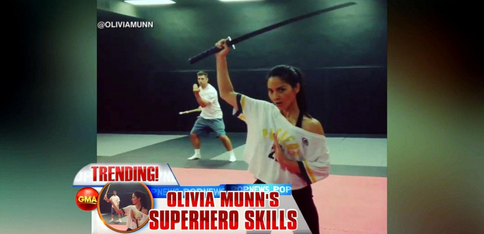 VIDEO: Aaron Rodgers Helps Girlfriend Olivia Munn Swing Into Action to Prepare for 'X-Men' Role