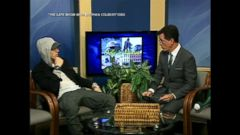 VIDEO: Colbert got in some practice extra practice as a late night host, reading the towns community calendar and interviewing Michigan-native Eminem on the show Only in Monroe.