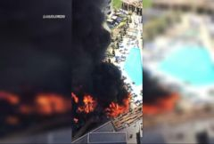 VIDEO: Cosmopolitan Hotel of Las Vegas Pool Deck Catches Fire