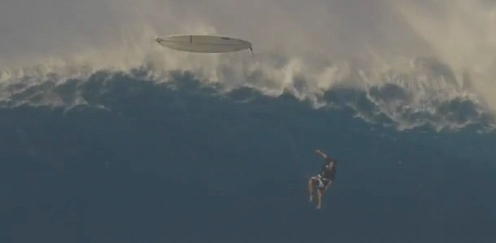 VIDEO: Professional surfer Tom Dosland was caught on camera during a freefall from a huge wave in Maui, Hawaii.