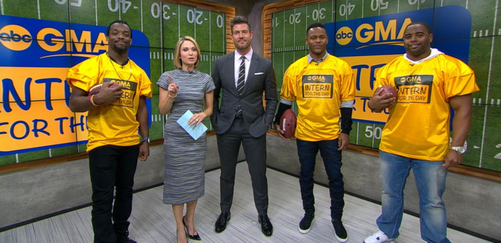 VIDEO: NFL Players Become Interns on GMA