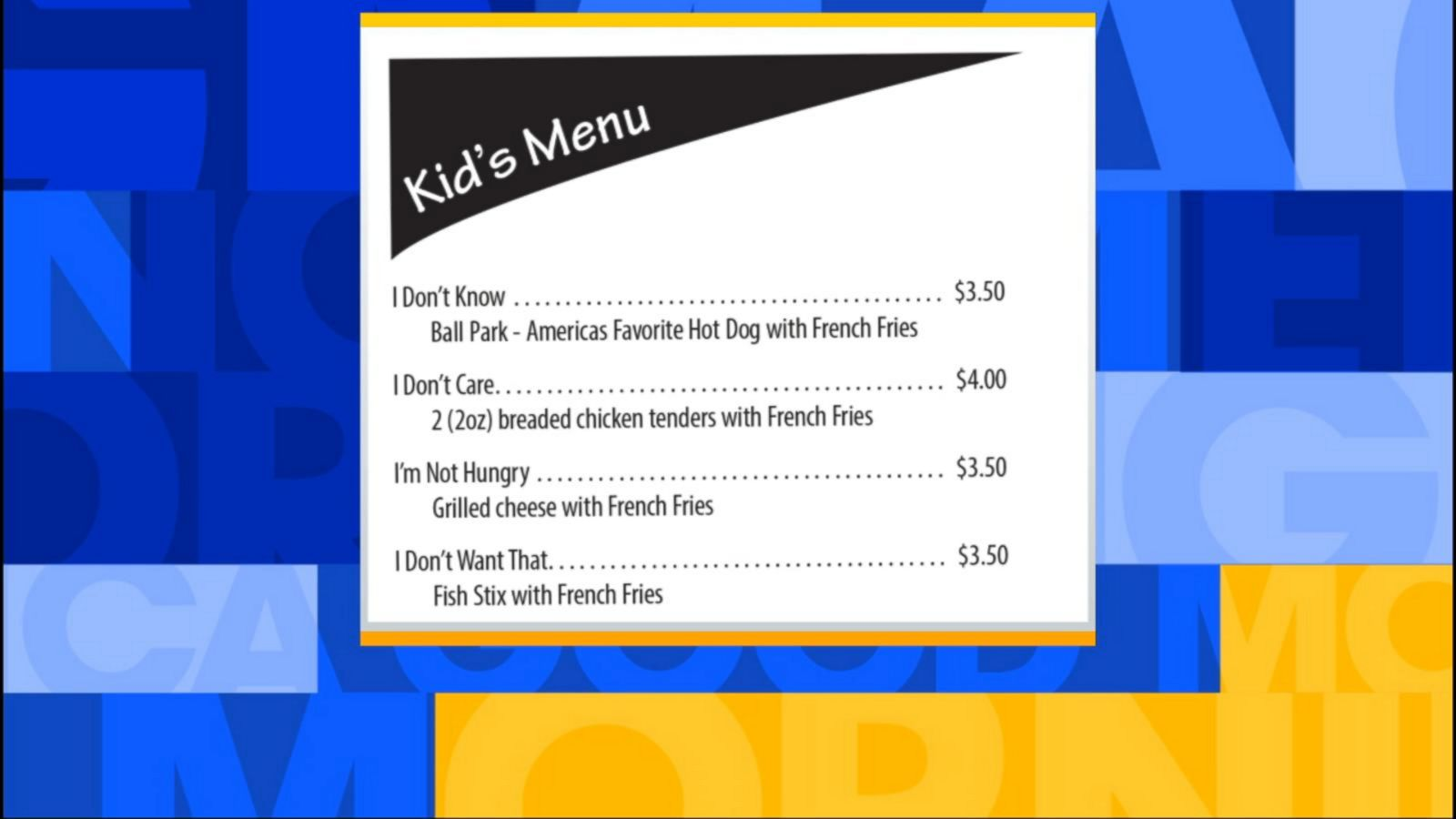 VIDEO: Deli Menu Perfectly Sums Up Pain of Parents Dining With Kids