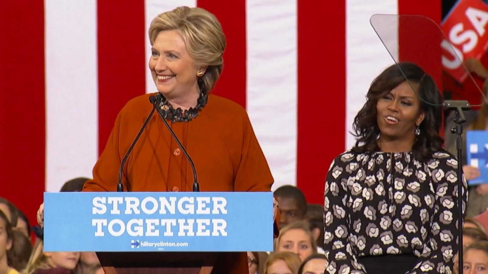 VIDEO: Hillary Clinton and Michelle Obama Bond Over the First Lady Experience on Campaign Trail
