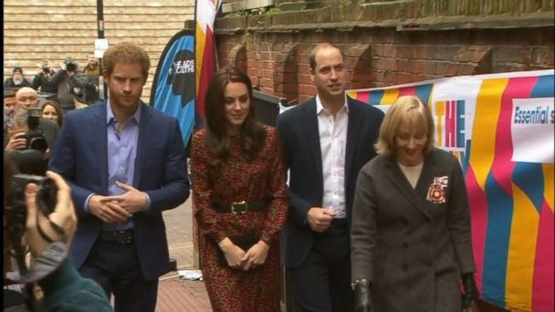 VIDEO: The royal trio made Christmas decorations and met with volunteers and counselors at a North Kensington youth center.