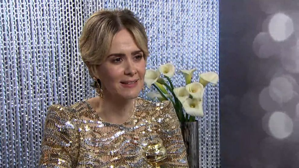 Sarah Paulson Is Wearing Marc Jacobs at the 2017 Golden Globe Awards